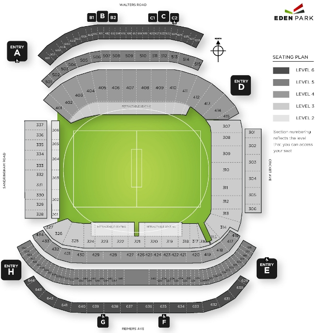 Eden Park Seating Plan