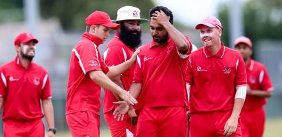 Papatoetoe's Avnit Prasad is congratulated on taking a wicket. Jeff Crowe Cup - Limited Overs Championship Round 6, Papatoetoe Cricket Club v Birkenhead City Cricket Club, Papatoetoe Rec, Auckland, Sunday 15th January 2017. Photo: David Joseph / www.phototek.nz