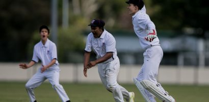 Macleans wicketkeeper Brandan Laurenzi and the slips witness a wicket falling. Secondary School Cricket, Avondale College v Macleans College, at Avondale, Auckland, Saturday 31st October 2015. Photo: David Joseph / www.phototek.nz